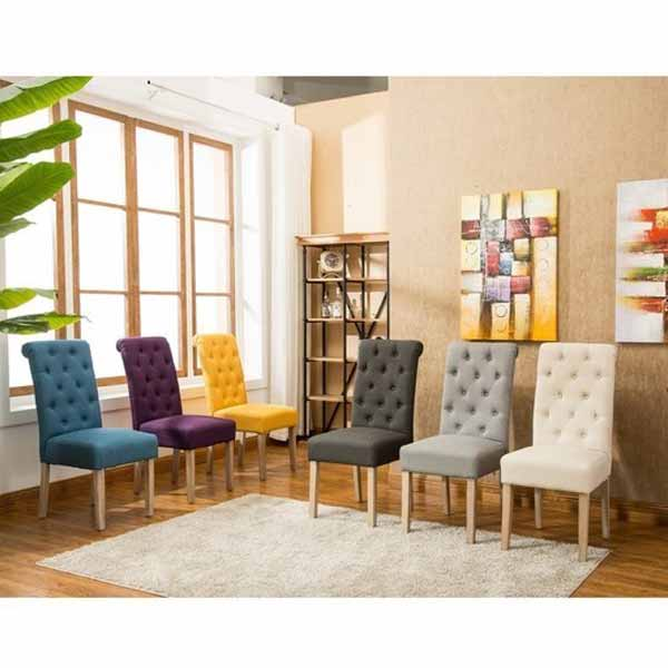 George Solid Wood Tufted Dining Chairs