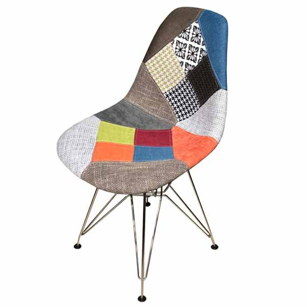 Henry Fancy Patch Work Interior Chair - Iron Legs